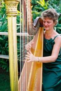 Maui Wedding Harpist Playing Pedal Harp