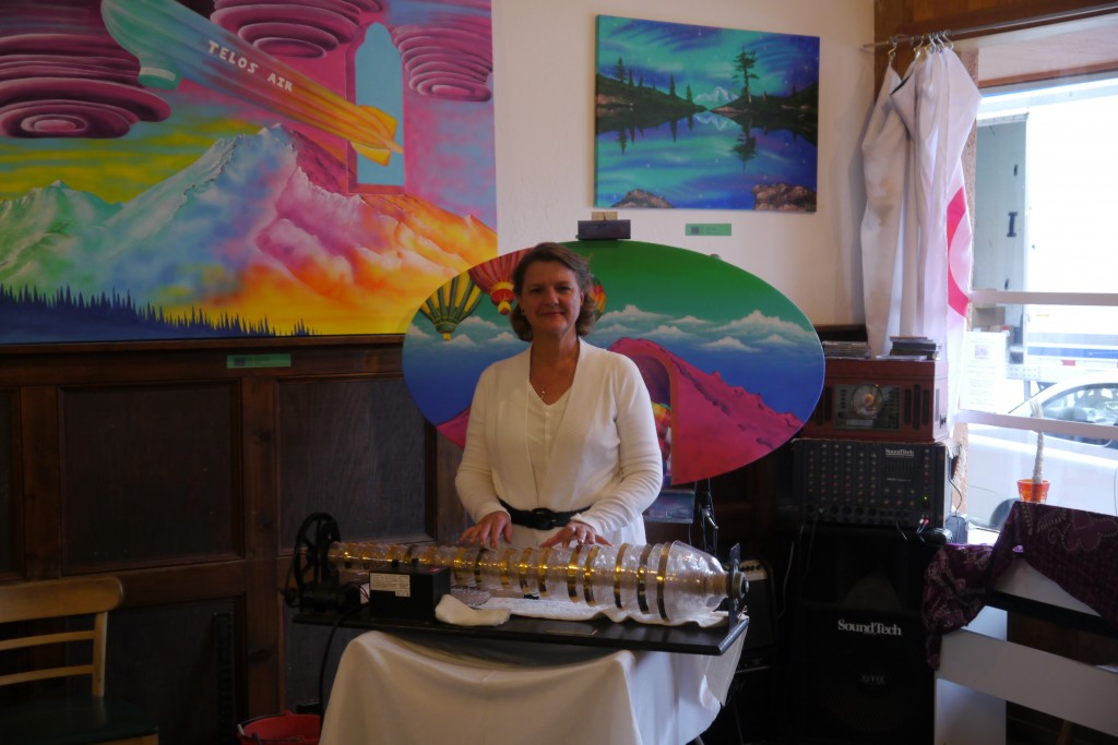 Celia is available to play the Glass Armonica (Glass Harmonica) Here playing at Chai Silk Road, Mt. Shasta